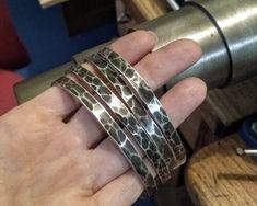 Men's Handmade Hammered Silver CUff Bracelets Silver Chain Necklace, Silver Bracelets, Bracelets For Men, Cuff Bracelets, Mens Leather Necklace, Men Necklace, Hammered Silver, Sterling Silver Cuff, Silver Pendants