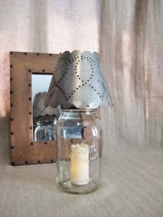 Rustic Punched Tin Mason Jar Candle Shade /Night by dewdropdaisies