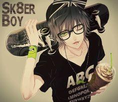 Skater anime boy