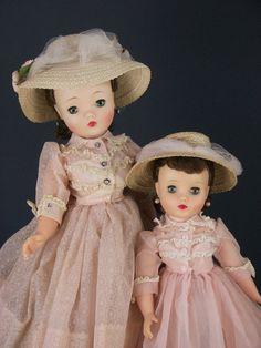1958 Madame Alexander Cissy & Elise Dolls in Matching Pink Organza Shirtwaist Dress & Hat