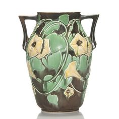 Trial glaze Morning Glory vase displaying yellow blossoms on one side and white blue tinted blossoms on the opposing . on Mar 2015 Roseville Pottery, Mccoy Pottery, Vintage Pottery, Ceramic Pottery, Pottery Art, Art Nouveau, Vintage Planters, Vases Decor, Large Art