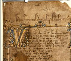 The opening folio of the Hengwrt Chaucer manuscript, an early 15th century manuscript of the Canterbury Tales, held in the National Library of Wales, in Aberystwyth,