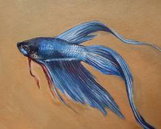 """Max"" Blue Betta Fish Painting, Chinese Fighting Fish    Jenny Gunter - dearpotato.etsy.com"