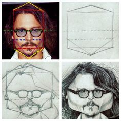 Many of you seemed interested in having more of my caricature processes. So here is another one I did for you, based on the same shape based technique : how I constructed my Johnny Depp caricature.  1. Analysed and simplified the head shape : 1 rectangle (red dotted lines) and 2 triangles (yellow dotted lines). Notice how the eye line (green dotted line) cuts the red rectangle in 2 equal parts, and how the bottom line of the nose (blue dotted line) cuts one of these parts in half too.