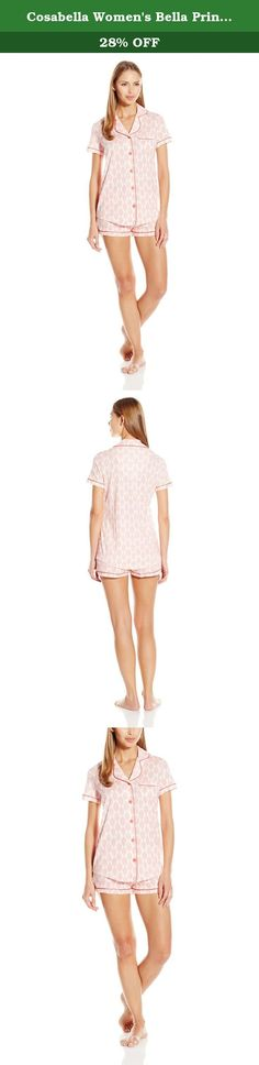 Cosabella Women's Bella Printed Short Sleeve Top and Boxer Pajama Set, Pink, Medium. Sophisticated, feminine interpretation of classic men's pajama styles. Made in super soft pima cotton and modal, this group is finished with classic touches of satin binding.