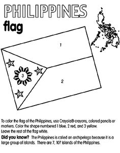 FREE Philippines coloring page from Crayola.com. The site (and link) has flags of other countries that will come in handy for Social Studies.