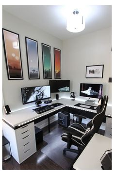 Ikea Home Office, Home Office Layouts, Home Office Setup, Guest Room Office, Home Office Space, Home Office Design, Gaming Room Setup, Desk Setup, Home Recording Studio Setup
