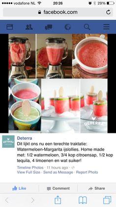 Watermeloen-Margarita ijsjes