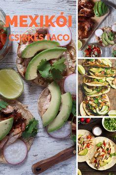 Unod már a sült csirkét vacsorára? Dobd fel a kedd estéidet egy új taco recepttel. A taco a mexikói kulináris örökség része már több mint 100 éve. Egyszerű elkészíteni, megfizethető gyors harapnivaló, ebéd vagy vacsora alternatíva. A taco az egyik legjobb dolog a világon! Ezek a tortilla tekercsek gyakorlatilag bármivel megtölthetőek. Grillezd meg inkább azt a csirkét és készítsd el taco-nak. Nálunk keddenként mindig taco a menü :) Aztec Empire, Cooking Instructions, Taco Tuesday, Mexican Dishes, Avocado Toast, Catering, Tacos, Fresh, Meals