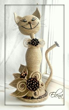 This Pin was discovered by KirCrochet Couverture Blanket Insjust I need some stones, a rop Twine Crafts, Diy And Crafts, Arts And Crafts, Paper Crafts, Wine Bottle Art, Wine Bottle Crafts, Diy Bottle, Coffee Bean Art, Rope Art