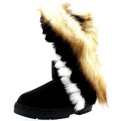 Womens Tall Tassel Rabbit Fur Lined Winter WZEAther Waterproof Snow Rain Boots  10  BLA41 ZEA0397 * Learn more by visiting the image link.