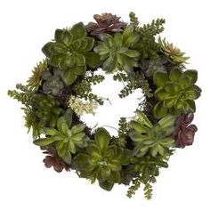 @Overstock.com - Round 20-inch Succulent Wreath - Color: Green Pattern: SucculentDimensions: 20 inches in diameter  http://www.overstock.com/Home-Garden/Round-20-inch-Succulent-Wreath/6268214/product.html?CID=214117 $61.99