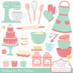 Professional Baking Clipart & Vectors in Mint and Coral Kitchen Clipart Baking Vectors Baking Clip Art Cooking Clipart Apron Clipart - Baking Shirts - Ideas of Baking Shirts -