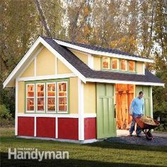 How to Build a Shed: 2011 Garden Shed 12 x 16 welding studio with loft. The windows will have to go on north end. shed design shed diy shed ideas shed organization shed plans Gazebos, She Sheds, Potting Sheds, Shed Design, Garden Design, Diy Shed, Building A Shed, Shed Storage, Backyard Storage