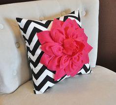 Chevron Pillow Hot Pink Dahlia on Black and White Zig Zag Pillow 16 x 16