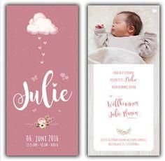 Julie: Geburtskarte 100x210 mm // Karte ist auch in ihrer Wunschfarbe erhältlich