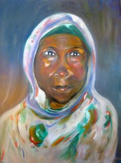 "For Sale: African Woman I by Elizabeth Welles | $250 | 24""w 30""h | Original Art | http://www.arttwo50.com/buy/art/african-woman-i"