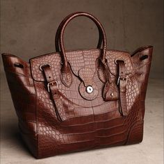 5a0357aa0e Ralph Lauren The vintage brown matte alligator Soft RickyBag Ralph Lauren  Bags