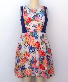 Look what I found on #zulily! Royal & Orange Floral Color Block Skater Dress - Girls #zulilyfinds