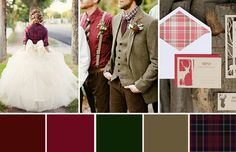 A great look for a winter wedding: tartan, red and green. This is a super cosy look that is really easy to recreate if you& planning a winter or christmas wedding Popular Wedding Colors, Winter Wedding Colors, Wedding Colours, Winter Weddings, Wedding Color Combinations, Wedding Color Schemes, Colour Schemes, Color Inspiration, Wedding Inspiration