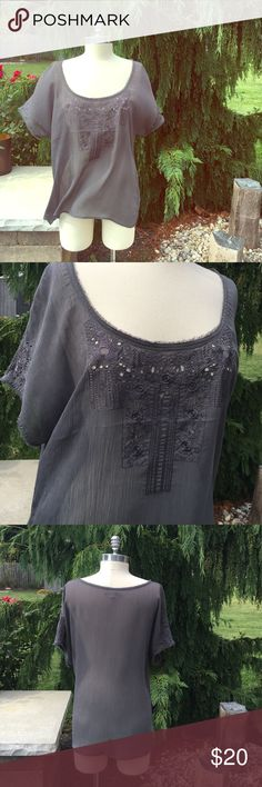 """Gray embroidered top Beautiful embroidered gray top from Ruehl. Open neck can be worn off the shoulder. 23""""L from shoulder. Slightly sheer. 100% poly Ruehl No. 925 Tops Tees - Short Sleeve"""
