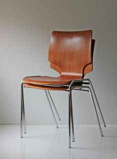 Charmant Reserved.....pair Of Modern Bentwood Teak And Chrome Stacking Chairs