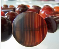 Agate beads from Idar Oberstein An enormous trade in agate-working is carried on in a small district in Germany, around Oberstein on the Nahe.(Using Brazilian Agate) Then traded to the Africans. circa 1800's Posted by Kathleen McCabe-Elsey