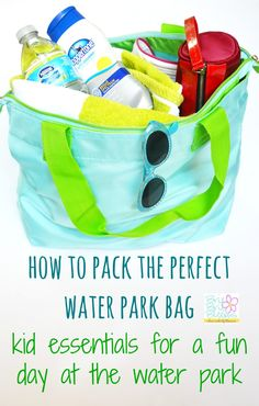 Water park bag essentials for kids - Brie Brie Blooms Water park bag essentials for kids will help you avoid spending during your fun family day! Great tips included in how to pack the perfect water park bag! Travel Bag Essentials, Kid Essentials, Theme Park Essentials, Water Park Tips, Water Parks, Splash Park, Vacation Trips, Summer Vacations, Vacation Travel