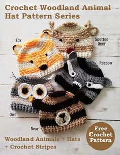 These hats have a modern look with s… Crochet Woodland Animal Hat Pattern Series. These hats have a modern look with s…,Häkeln Sie Baby Crochet Woodland Animal Hat. Crochet Animal Hats, Crochet Kids Hats, Crochet Beanie Hat, Crochet Mittens, Crochet Gloves, Beanie Pattern, Cute Crochet, Crochet Crafts, Crochet Projects