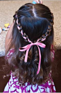 Cute idea for a little girl for a wedding or dance: Princess Crown Braid Ribbon