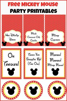 Free Mickey Mouse party printables from playpartyplan.com, perfect for a Mickey Mouse Clubhouse party!