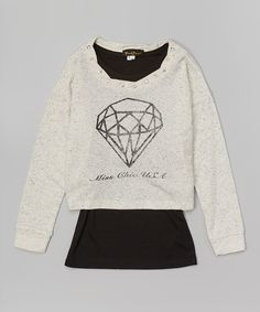 Look at this Gray & Black Diamond Layered Top - Girls on #zulily today!