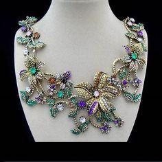 Strass, Blüten, Blumen, bunt, Vintage, Halskette, Collier, Bronze in Uhren & Schmuck, Modeschmuck, Halsketten & Anhänger | eBay