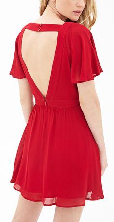 V neck red dress forever 21 1800 Cheap Dresses, Casual Dresses, Short Sleeve Dresses, Long Sleeve, Red Chiffon, Chiffon Dress, Dress Backs, Dress Up, Babydoll Dress