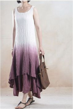 Casual Linen Dress in Red