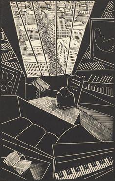Wharton Esherick: Of a great city. Linocut.