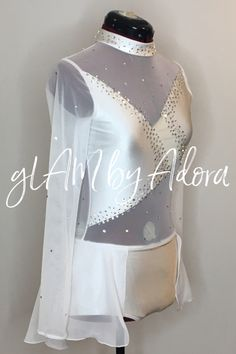 Daring cutout style leotard for competition dance with Swarovski Crystals