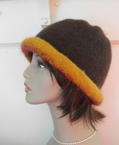 Wool Felted  Hat Hand Knit Cloche for Women by maggiesraggedyinn, $35.00