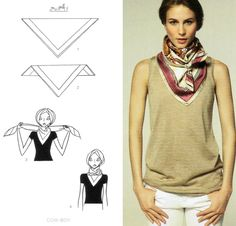 How To Tie A Scarf - Hermès Scarf Knotting Cards Vol.2 - COW-BOY                                                                                                                                                                                 More