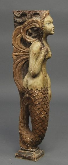 Old Carved Wood Decorated Folk Art Mermaid Figure