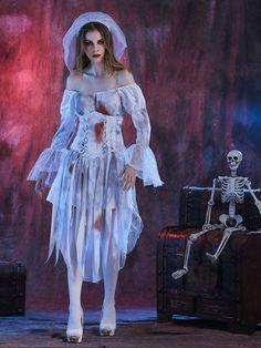 Seulement €36.07 ,acheter Halloween Women Off Shoulder Zombie Ghost Bride Costume Dress with Headwear sur Banggood.comAcheter fashion Robes de Soirée en ligne.