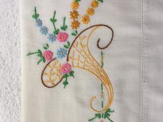Vintage pillowcase with embroidery baskets by KeepsakesbySherie