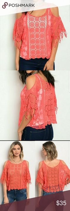Crocheted Cold Shoulder Top Gorgeous Coral crocheted cold shoulder top made of 100% cotton. This top features fringed half sleeves, spliced lace and crocheted work with the ever stylish cold shoulder style. This top is a must have for spring & summer fashion.  *Note this does not have a lining.  To me this means endless looks with different colors and styles of camis, bralettes and tube tops! 1-(S/M 4-6) 2-(M/L 8-10) Threadzwear Tops