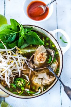 Lightning Speed PHOTON Soup- a cross between Vietnamese Pho and Wonton soup that can be made in 15 minutes flat! Nourishing, healthy and warming. | www.feastingathome.com
