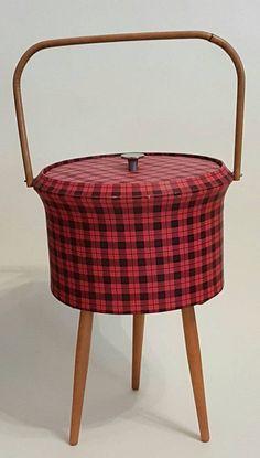 Beautiful Mid Century Sewing Box  1960s Sewing Box  Tripod