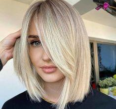 Blonde Bob Hairstyles, Lob Hairstyle, Haircuts With Bangs, Pretty Hairstyles, Bang Haircuts, Haircut Bangs, Short Blonde Haircuts, Medium Hair Styles, Short Hair Styles