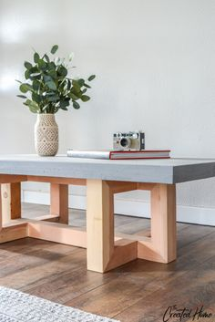 Concrete and Wood Geometric Coffee Table tutorial table Concrete and Wood Geometric Collection: Coffee Table - The Created Home Concrete Furniture, Concrete Table, Concrete Wood, Furniture Projects, Wood Table, Diy Furniture, Wooden Chair Plans, Chair Design Wooden, Wood Toys Plans