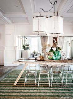 Fun with White and Green, loving those light fixtures