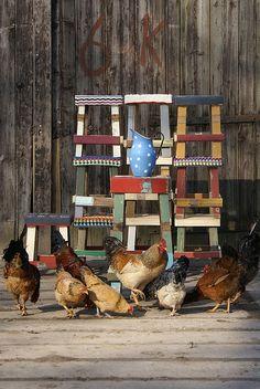 raccoonstudios:    batixa:    chickens & stools (by Ingrid Jansen)    love her stools…. love!