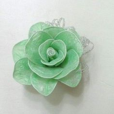 DIY Hair Roses Made from Colored plastic and Twist Ties